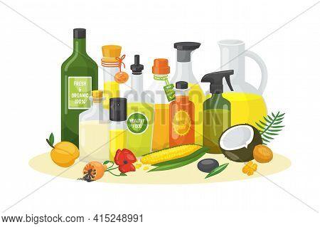 Vegetable Oil Bottle For Organic Food, Virgin Olive Oil Glass At Kitchen, Vector Illustration. Healt
