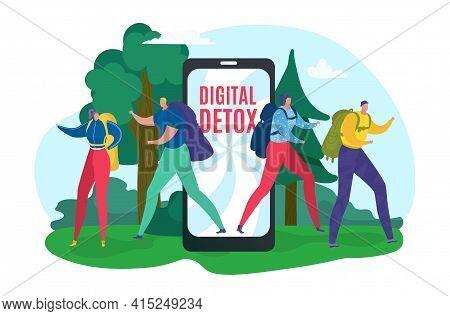 Offline Device, Disconnect Internet For Digital Detox From Flat Smartphone, Vector Illustration. Man