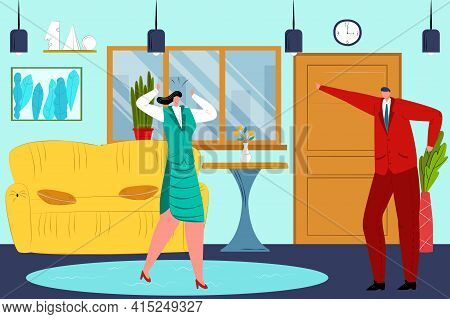 Couple Man Woman Conflict With Each Other, Angry Wife Husband Family, Vector Illustration. Relations