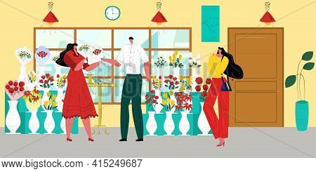 Flower Store, Man Woman People At Shop, Vector Illustration. Florist Character Hold Bouquet, Flat Fe