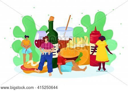 Unhealthy Junk Food For People Person With Obesity Concept, Vector Illustration. Cartoon Fat Man Wom