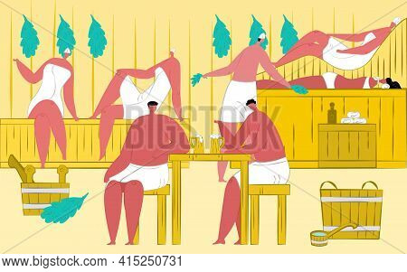 Sauna Vector Illustration. Hot Heat Steam For Man Woman People In Towel Leisure, Wellness Relax For