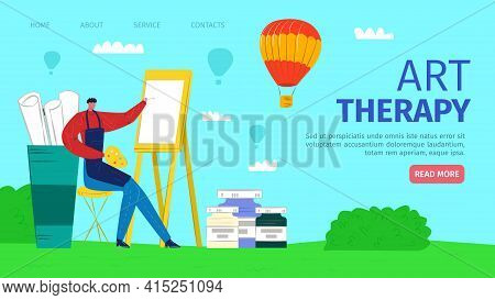 Painting Man Character In Arpon, Art Therapy, Vector Illustration. Paint Passion, Performance Result