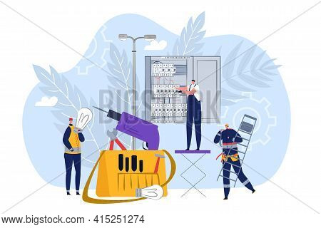 Electrician Concept, Electric Technician Worker, Vector Illustration. Professional Electricity Maint