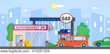 Gas Station, Fuel Petrol For Car, Vector Illustration. Flat Service Wtih Gasoline, Oil Energy Pump F