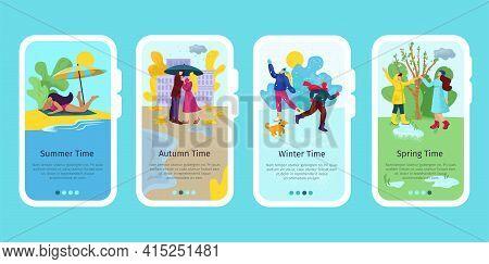 Season Time, Mobile Landing Set Vector Illustration. Winter, Spring, Summer, Autumn Day Scene And Se