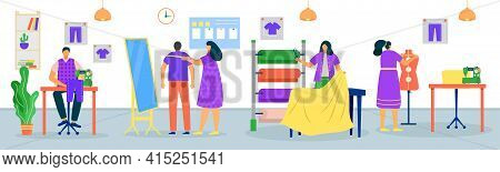 Sewing Clothes In Tailor Shop Concept, Vector Illustration. Man Woman Dressmaker Character Work In F