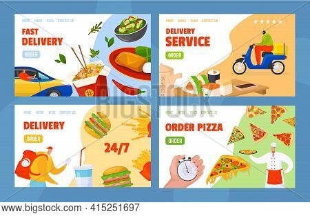 Set Landing Pages Concept, Food Ordering And Delivery Service, Vector Illustration. Flat Banner With