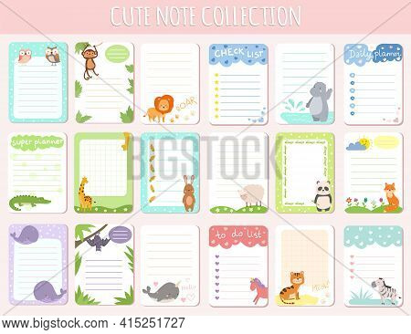 Cute Notes Collection, Vector Illustration. Kids Daily Planner Banner Set For School Education. Orga
