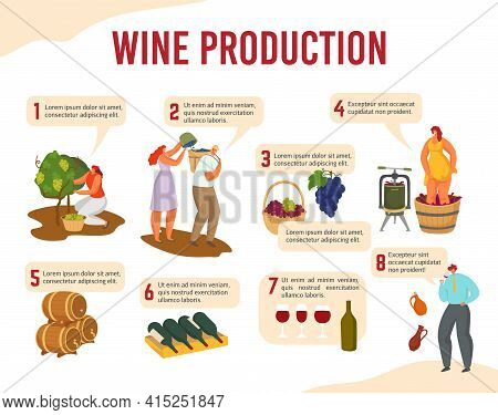 Infographics With Inscriptions Wine Production Steps, Vector Illustration. Wine Technology At Home,