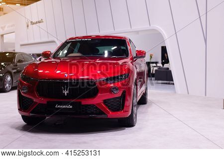 Nonthaburi, Thailand - March 25,2021 : View Of Maserati Levante Red Color On Display At Thailand Int