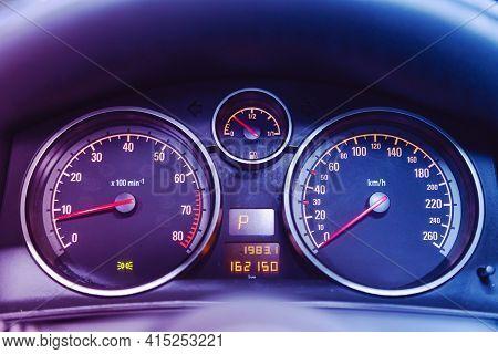 Novosibirsk, Russia - April 01 2021: Opel Astra, Car Panel, Digital Bright Speedometer, Odometer And