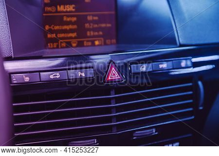 Novosibirsk, Russia - April 01 2021: Opel Astra, Black  Detail With The Air Conditioning Button Insi