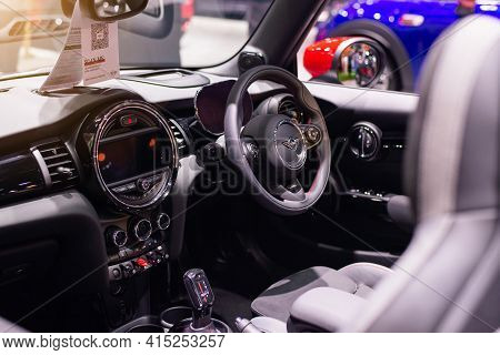 Nonthaburi, Thailand - March 25,2021 : View Of Inside Mini Jcw Gp Inspired Edition Gray Color On Dis