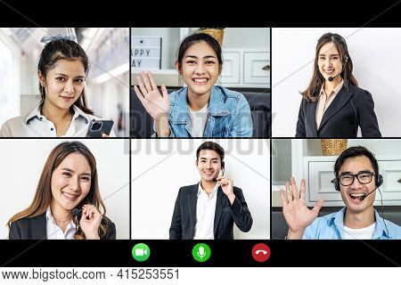 Video Conference Facetime Screen Monitor , Meeting Of Friends On-line, Colleagues Working Distantly,