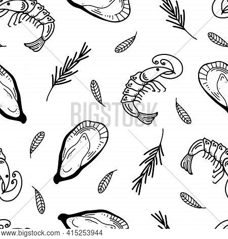 Seafood Seamless Vector Pattern. Shrimps And Oysters, Basil And Rosemary Leaves. Hand Drawn Doodle I