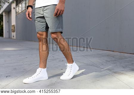 Men's ankle sneakers white street style apparel shoot