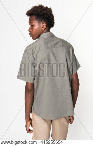 Basic gray shirt for boy youth apparel studio shoot