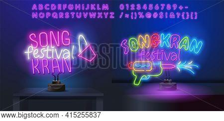 Songkran Festival Thai New Year , Bangkok Thailand Translate - Songkran Day, Lettering Vector.songkr