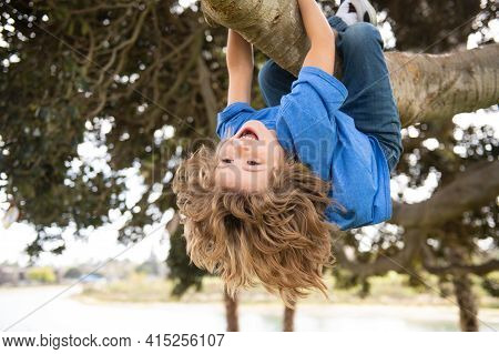 Childhood Leisure. Happy Kids Hanging Upside Down On Tree And Having Fun In Summer Park. Monkeying A