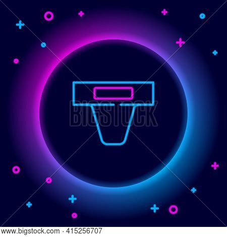Glowing Neon Line Groin Guard For Martial Arts Icon Isolated On Black Background. Colorful Outline C