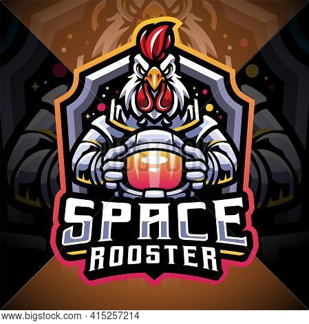 Space Rooster Esport Mascot Logo Design With Text
