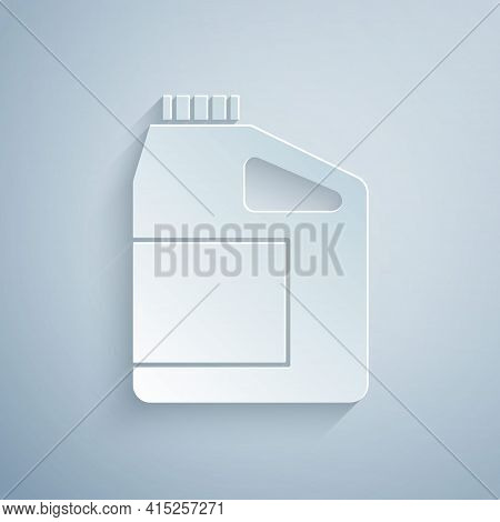 Paper Cut Canister For Motor Machine Oil Icon Isolated On Grey Background. Oil Gallon. Oil Change Se