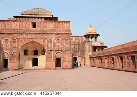 AGRA, INDIA - NOVEMBER 1, 2015: Jahangir Palace. Inside the Agra Fort, a UNESCO World Heritage Site.