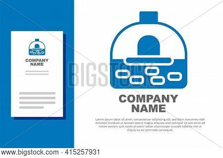 Blue Brick Stove Icon Isolated On White Background. Brick Fireplace, Masonry Stove, Stone Oven Icon.