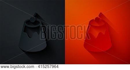 Paper Cut Pudding Custard With Caramel Glaze Icon Isolated On Black And Red Background. Paper Art St