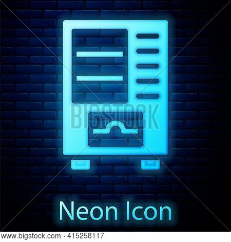 Glowing Neon Vending Machine Of Food And Beverage Automatic Selling Icon Isolated On Brick Wall Back