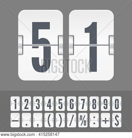 White Flip Numbers And Symbols On A Mechanical Scoreboard. Vector Template For Time Counter Or Web P