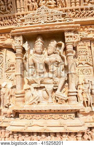 UDAIPUR, INDIA - JANUARY 14, 2017: Sas Bahu Temple carvings closeup. The remains, also known as, the Sahastra Bahu temples of the early 10th century AD are dedicated to Vishnu.