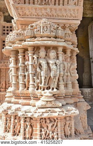 UDAIPUR, INDIA - JANUARY 14, 2017: Sas Bahu Temple detail. The remains, also known as, the Sahastra Bahu temples of the early 10th century AD are dedicated to Vishnu.