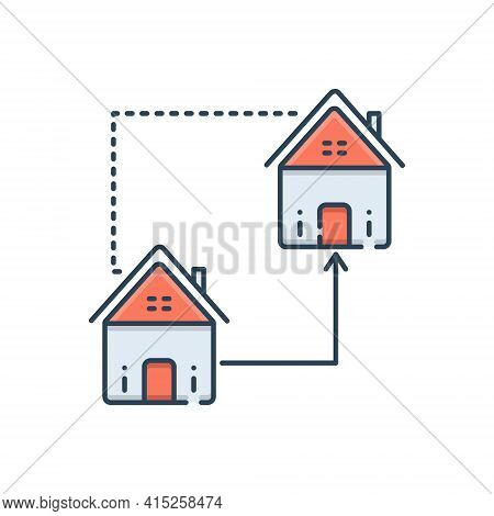 Color Illustration Icon For Home-replace Home Replace Supersede Encroach Property Real-estate
