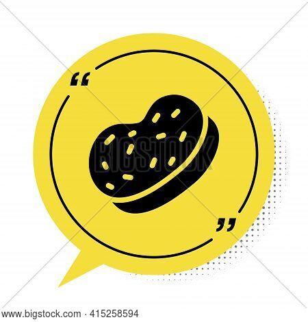 Black Bath Sponge Icon Isolated On White Background. Sauna Sponge. Yellow Speech Bubble Symbol. Vect