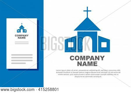 Blue Church Building Icon Isolated On White Background. Christian Church. Religion Of Church. Logo D