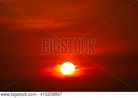 Beautiful Orange Yellow Red Silhouette Sky In Sunset Back On Cloud