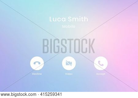 Call interface tablet screen on colorful pastel background