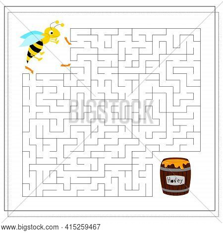 A Maze Game For Kids. Guide The Bee Through The Maze To The Honey. Vector Isolated On A White Backgr