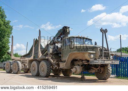 Russia - July 24, 2020. Tver Region, Russia. The Car. The Car. A Zil Truck With A Crane. A Zil Loggi