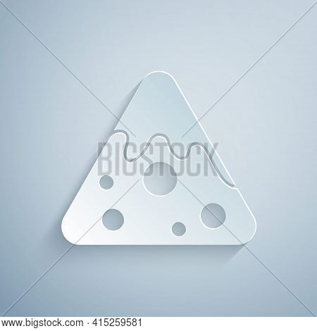 Paper Cut Nachos Icon Isolated On Grey Background. Tortilla Chips Or Nachos Tortillas. Traditional M