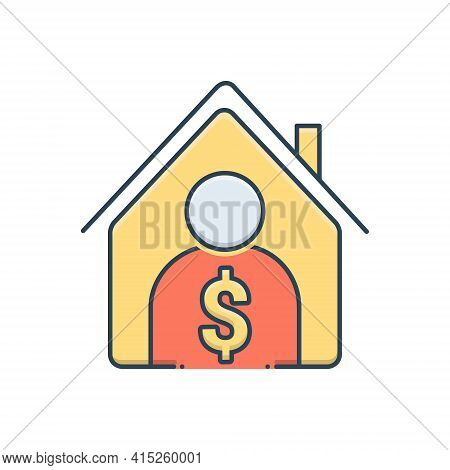 Color Illustration Icon For Real-estate-broker Real-estate Broker Agent Professional Property