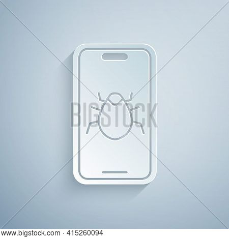 Paper Cut System Bug On Mobile Icon Isolated On Grey Background. Code Bug Concept. Bug In The System
