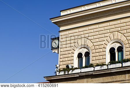 Bologna - Italy - February 20, 2021: Clock Of Bologna Central Railway Station. On August 2, 1980 The