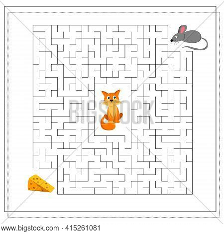 A Maze Game For Kids. Guide The Mouse Through The Maze To The Cheese, So As Not To Get To The Cat. V