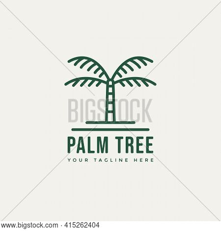 Palm Tree Minimalist Line Art Logo Template Vector Illustration Design. Simple Modern Travel, Resort