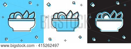 Set Nachos In Plate Icon Isolated On Blue And White, Black Background. Tortilla Chips Or Nachos Tort