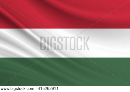 Flag Of Hungary. Fabric Texture Of The Flag Of Hungary.