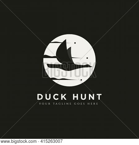 Duck Hunt Minimalist Silhouette Logo Template Vector Illustration Design. Simple Modern Hunting Club